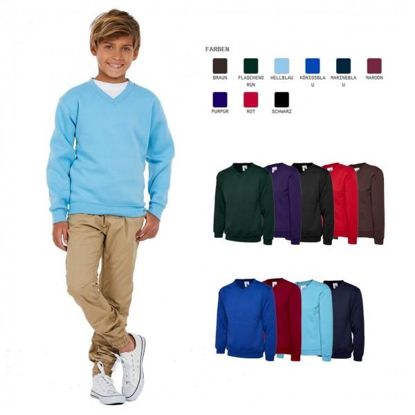 Kinder V-Ausschnitt Sweatshirt in 9 Farb