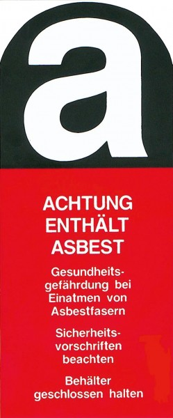 Aufkleber mit Asbest Warnhinweis, 1866