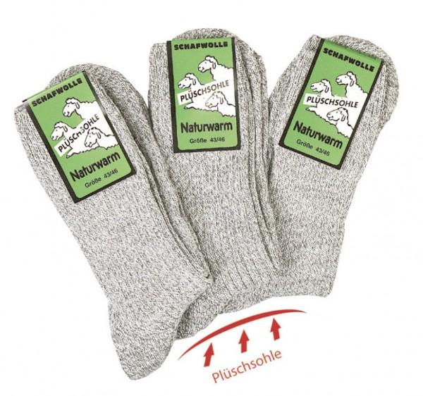 Norweger-Socke mit Frotteesohle hellgrau