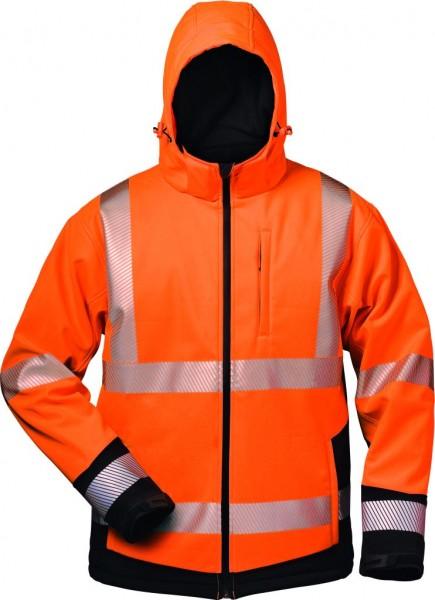 Warnschutz-Softshell Jacke Kapuze orange